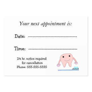 Dental Appointment with Cute Tooth Large Business Cards (Pack Of 100)