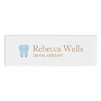 Dental Assistant Dentist Tooth Logo Name Tag