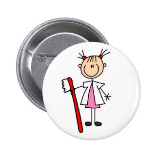 Dental Assistant With Toothbrush 6 Cm Round Badge