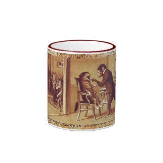 DENTAL CLINIC, DENTIST MONKEY AND CAT  Parchment Ringer Mug
