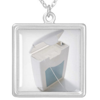 Dental floss silver plated necklace