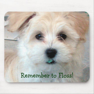 Dental Hygiene Puppy - Remember to Floss! Mouse Mat