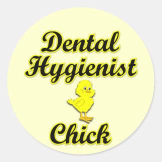 Dental Hygienist Chick Round Sticker