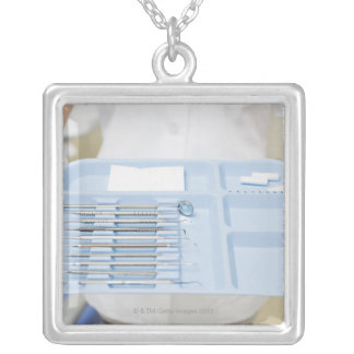 Dental hygienist  holding tray of dental silver plated necklace