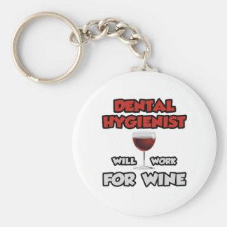 Dental Hygienist ... Will Work For Wine Basic Round Button Key Ring