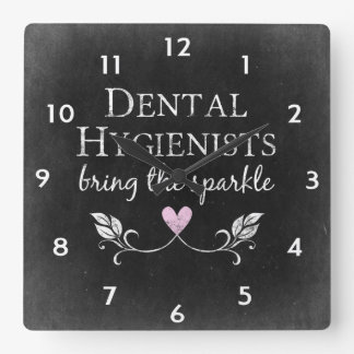 Dental Hygienists Sparkle Square Wall Clock