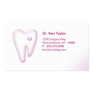 Dental Molar Heart Logo Business Card Pink 2