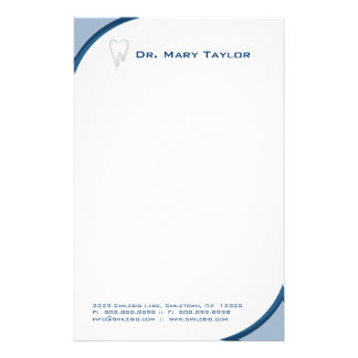 Dental Molar Tooth Stationery Blue Curve