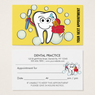 Dental Office Appointment Reminder Business Card
