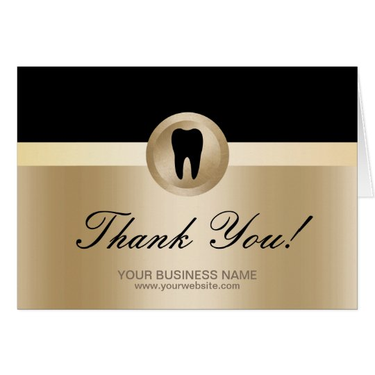 Dental Office Modern Black & Gold Thank You Card