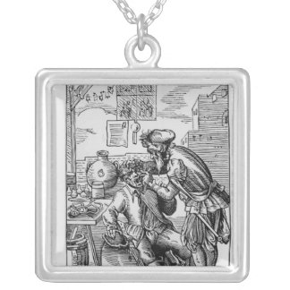 Dental Operator Square Pendant Necklace