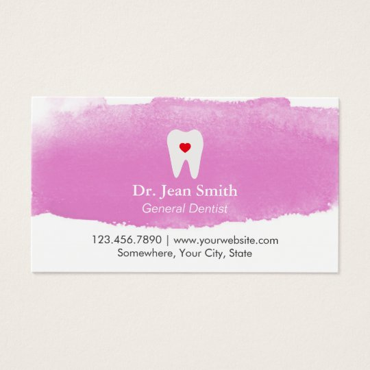 Dentist Appointment Tooth Heart Watercolor Dental Business Card
