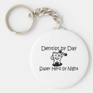 Dentist By Day Super Hero By Night Basic Round Button Key Ring