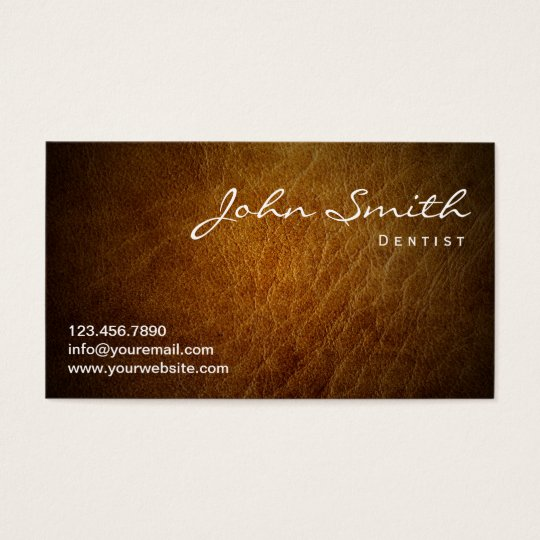 Dentist Classy Brown Leather Professional Business Card