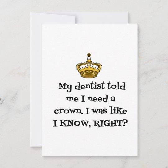 dentist crown thank you card  zazzlecouk