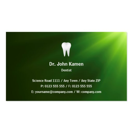 Dentist Green Business Card