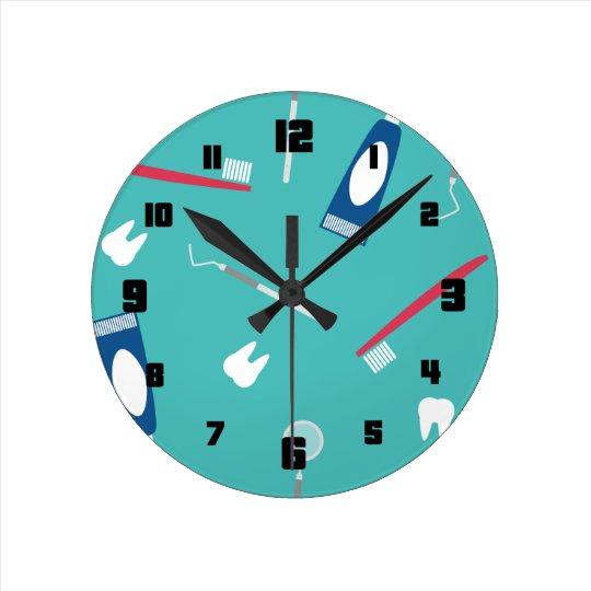 Dentist Instruments Seamless Pattern Round Clock