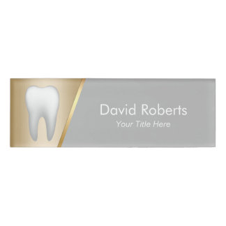 Dentist Modern Gold & Grey Dental Assistant Name Tag