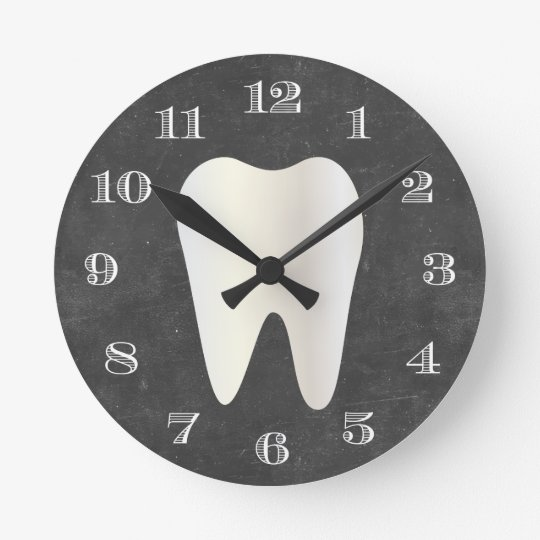 Dentist Office Dental Care White Tooth Chalkboard Round