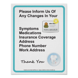Dentist Office Patient Information Wall Sign Poster