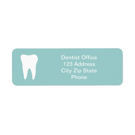 Dentist office return address labels | tooth logo
