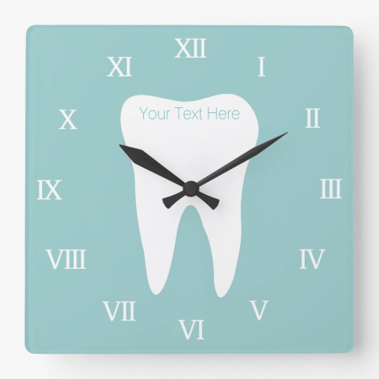 Dentist office wallclock with tooth logo and name