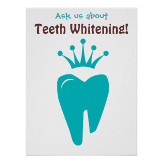 Dentist Poster Cute Tooth Crown Logo Blue