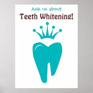 Dentist Poster Cute Tooth Crown Logo Blue