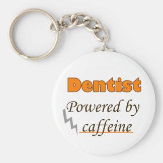 Dentist Powered by caffeine Basic Round Button Key Ring