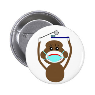 Dentist Sock Monkey Shirts and Gifts--Adorable 6 Cm Round Badge