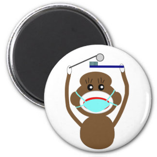 Dentist Sock Monkey Shirts and Gifts--Adorable 6 Cm Round Magnet