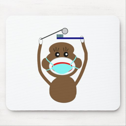 Dentist Sock Monkey Shirts and Gifts--Adorable Mouse Pad