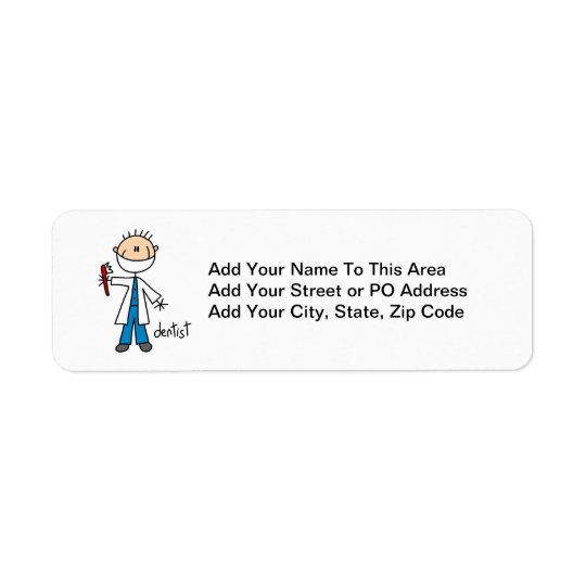 Dentist Stick Figure Return Address Label