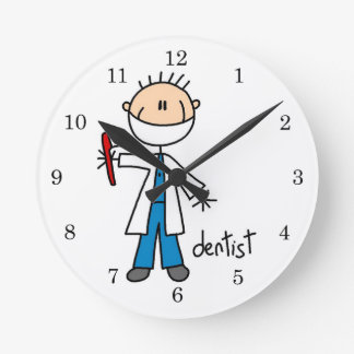 Dentist Stick Figure Round Clock
