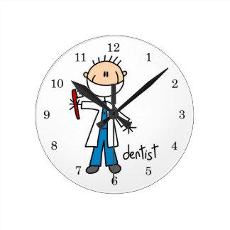 Dentist Stick Figure Round Clock