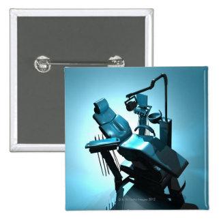 Dentist's chair, computer artwork. 15 cm square badge