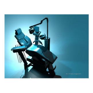 Dentist's chair, computer artwork. postcard