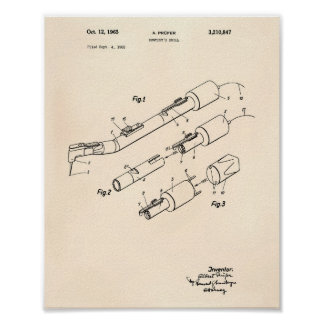 Dentist's Drill 1965 Patent Art Old Peper Poster