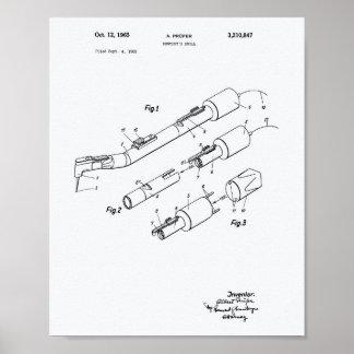 Dentist's Drill 1965 Patent Art White Paper Poster