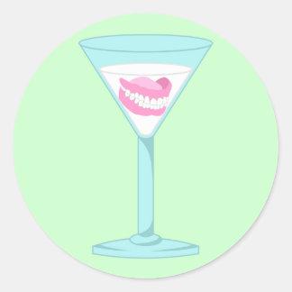 Dentures False Teeth Martini Classic Round Sticker
