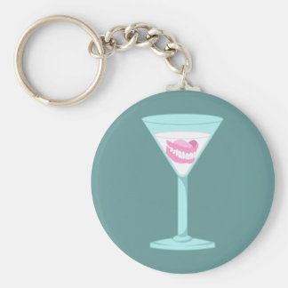 Dentures False Teeth Martini Key Ring