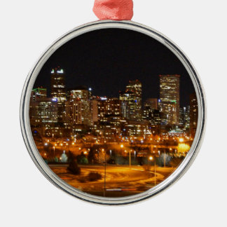 Denver at night christmas ornament