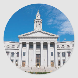 Denver City and County Building Entrance Classic Round Sticker