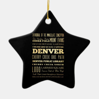 Denver City of Colorado State Typography Art Christmas Ornament