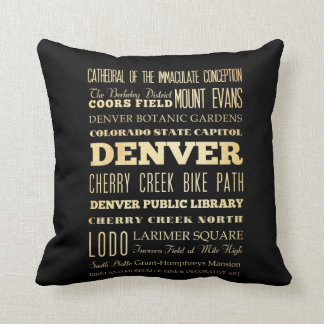 Denver City of Colorado State Typography Art Cushion