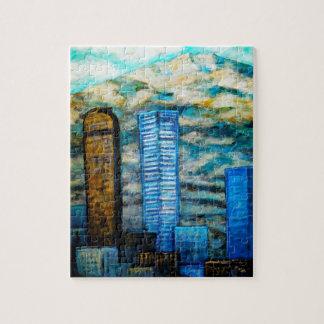 Denver Cityscape Painting, Fine Art Puzzle