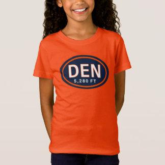 Denver CO 5,280 FT Blue Orange Football T-Shirt
