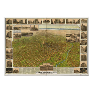 Denver Colorado 1908 Panoramic Map Poster