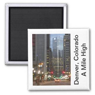 Denver, Colorado - A Mile High City Square Magnet