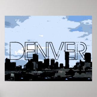 Denver Colorado artistic skyline poster